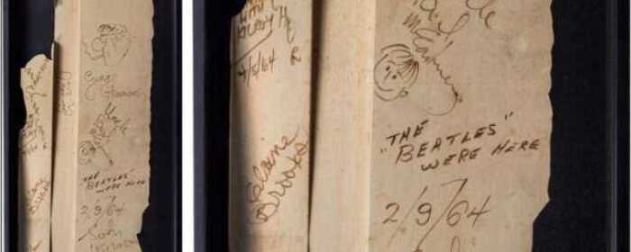 1964 Ed Sullivan Stage Wall Signed by The Beatles