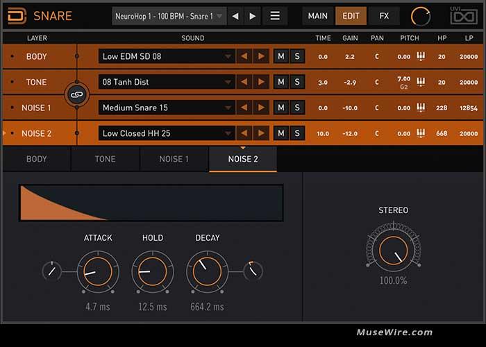Drum Designer snare editor
