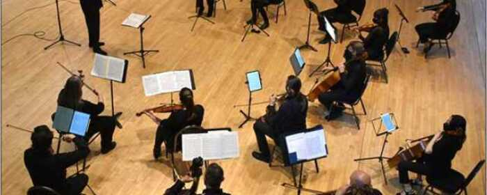 The Lowell Chamber Orchestra during dress rehearsal. Photo credit: Wei Zhao.