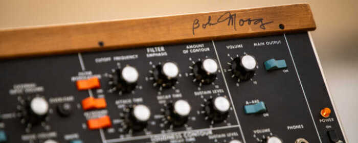 Minimoog Model D synthesizer, serial number 6572, signed by Bob Moog